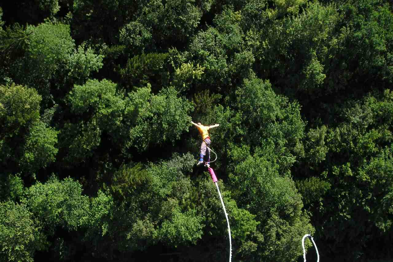 A person jumping into the forest below.