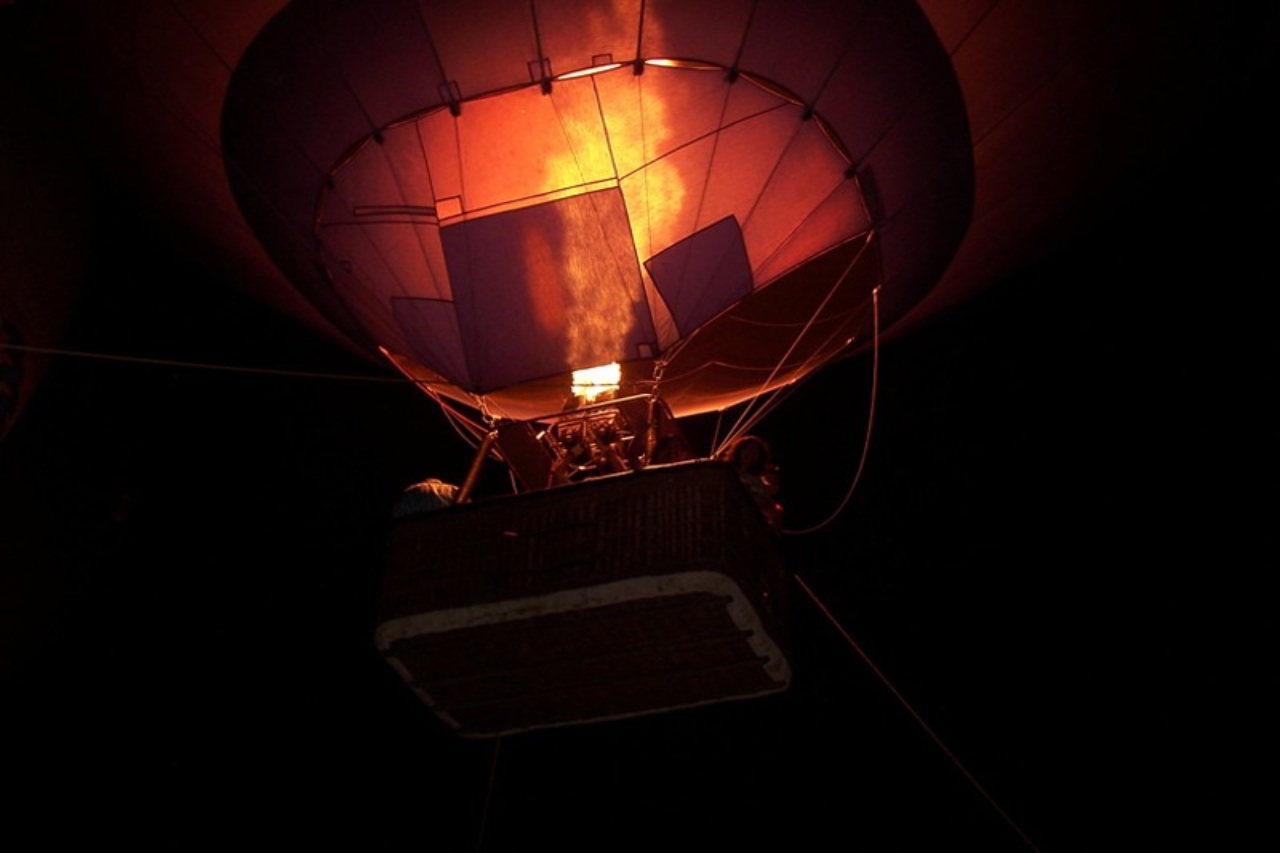 A hot air balloon close up with the gas flames
