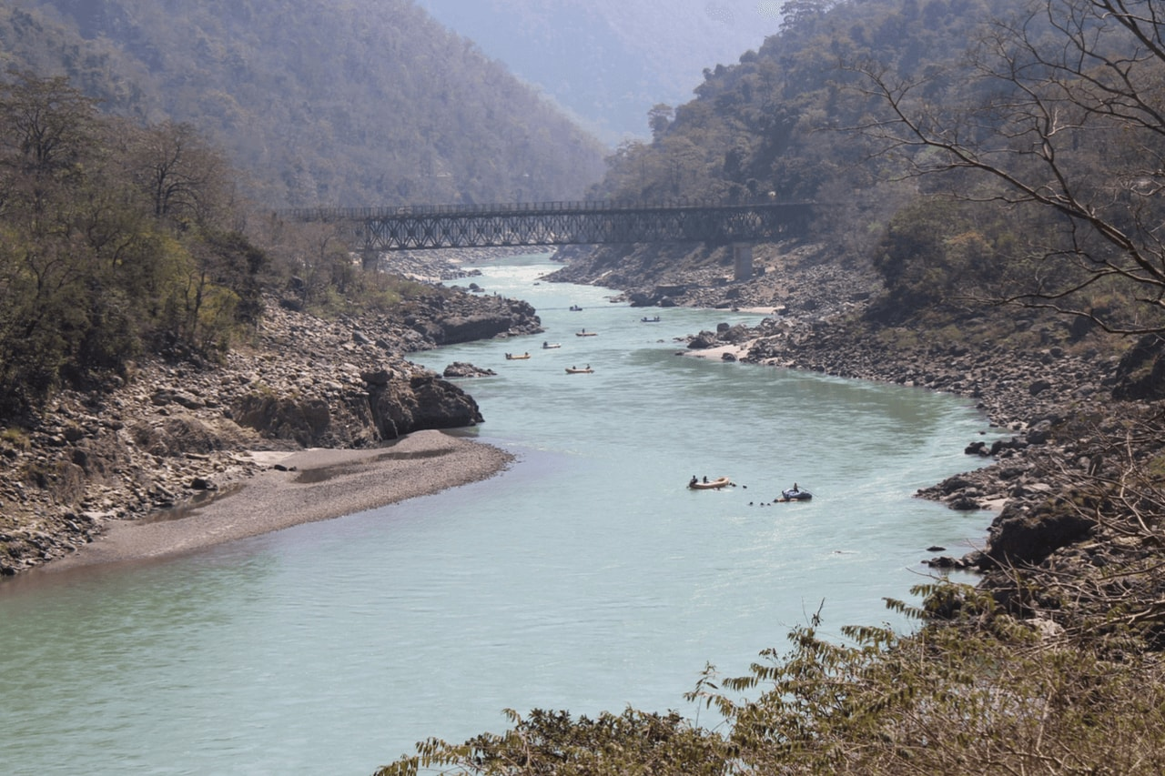 nflatable rafts on the Ganges river in Rishikesh