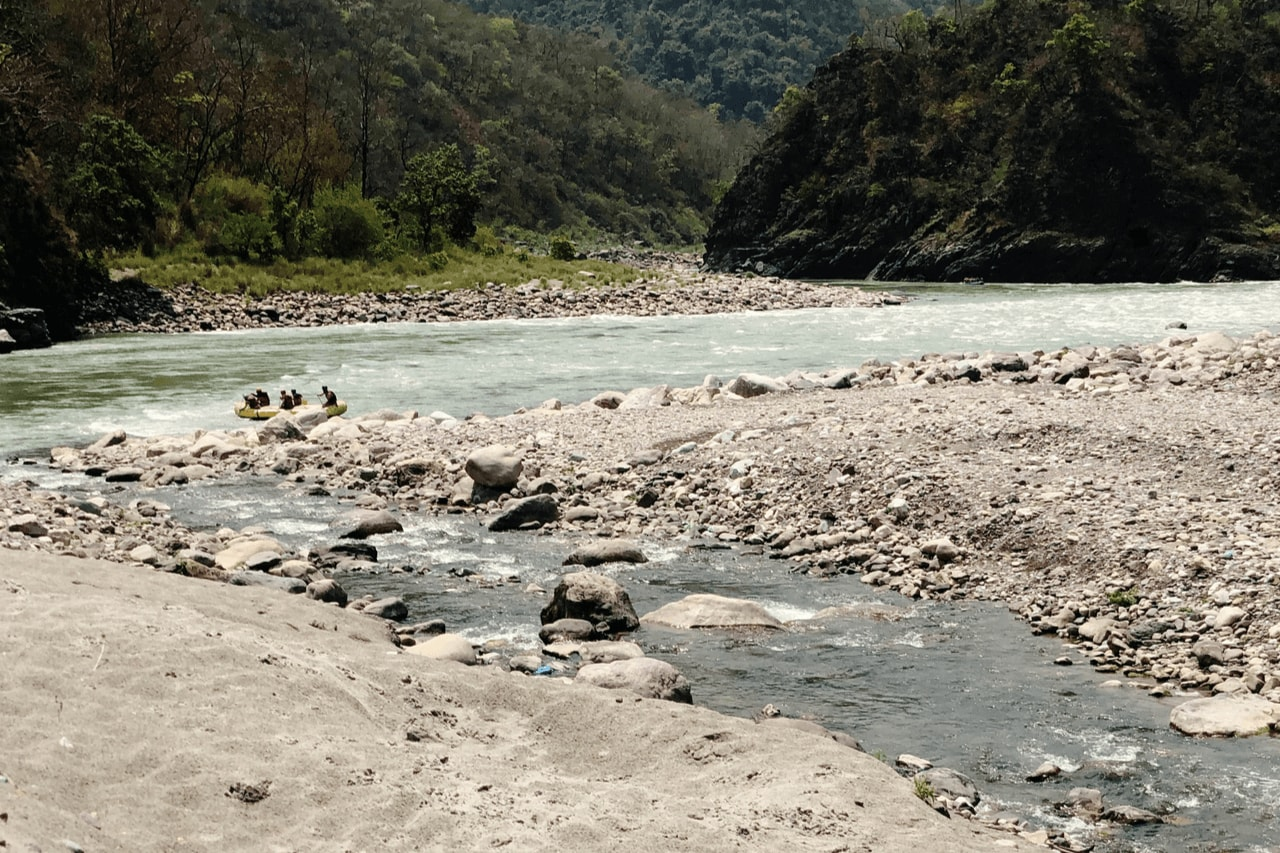 Shallow river banks in Rishikesh