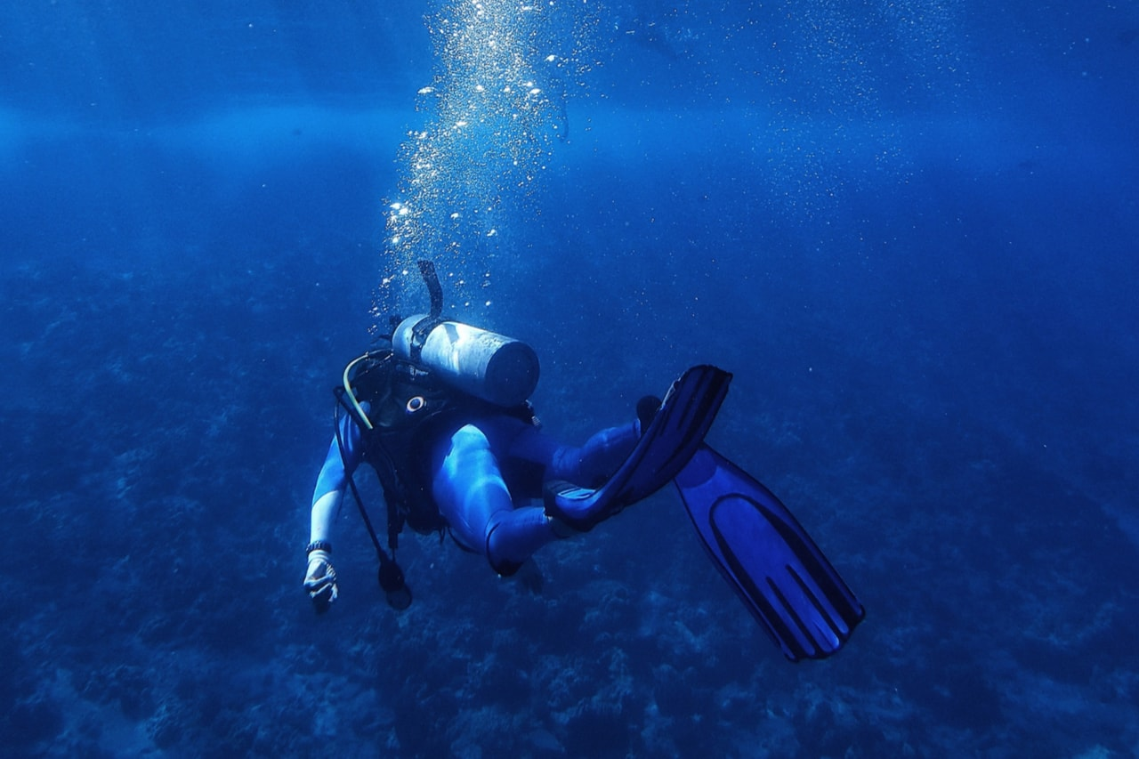 Scuba diver swims away from camera