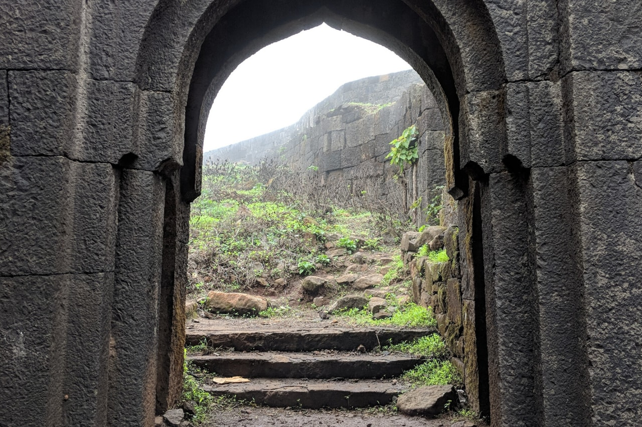 View through an old stone doorway of a fort