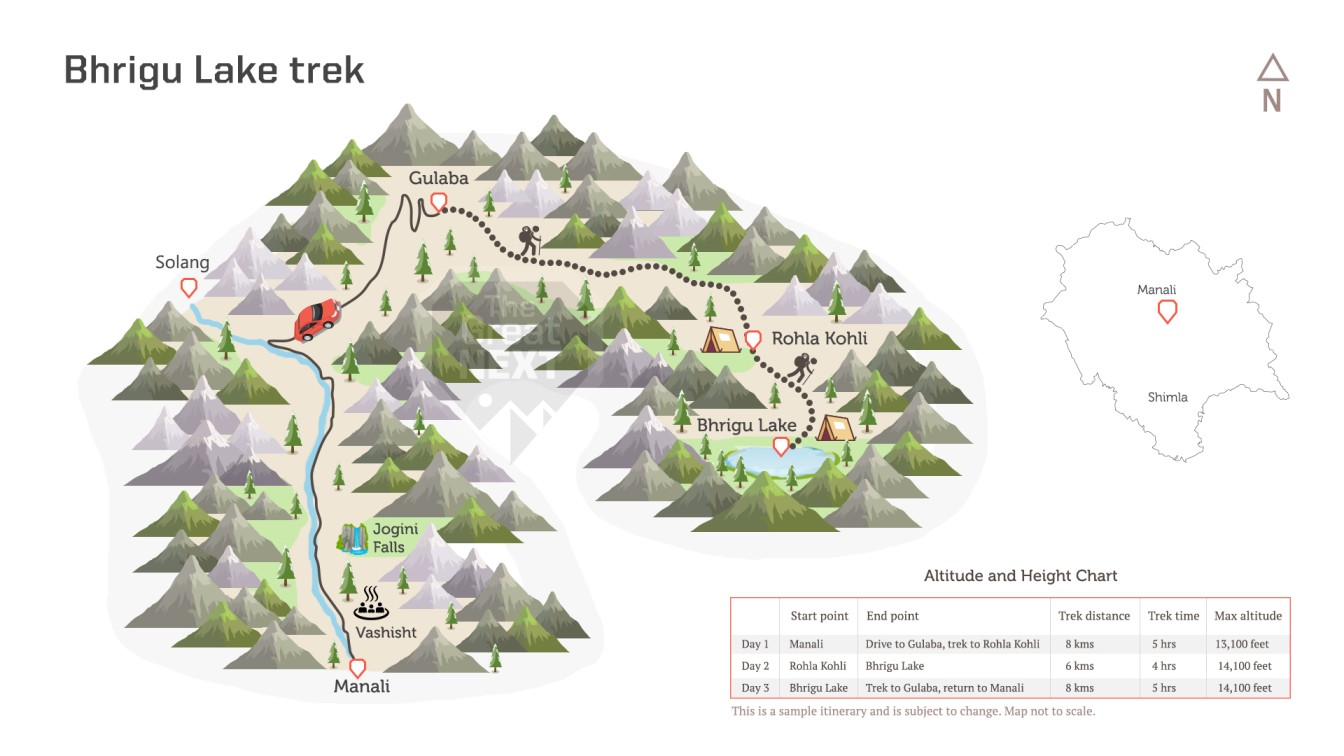See the trekking route map for The Bhrigu lake Trek