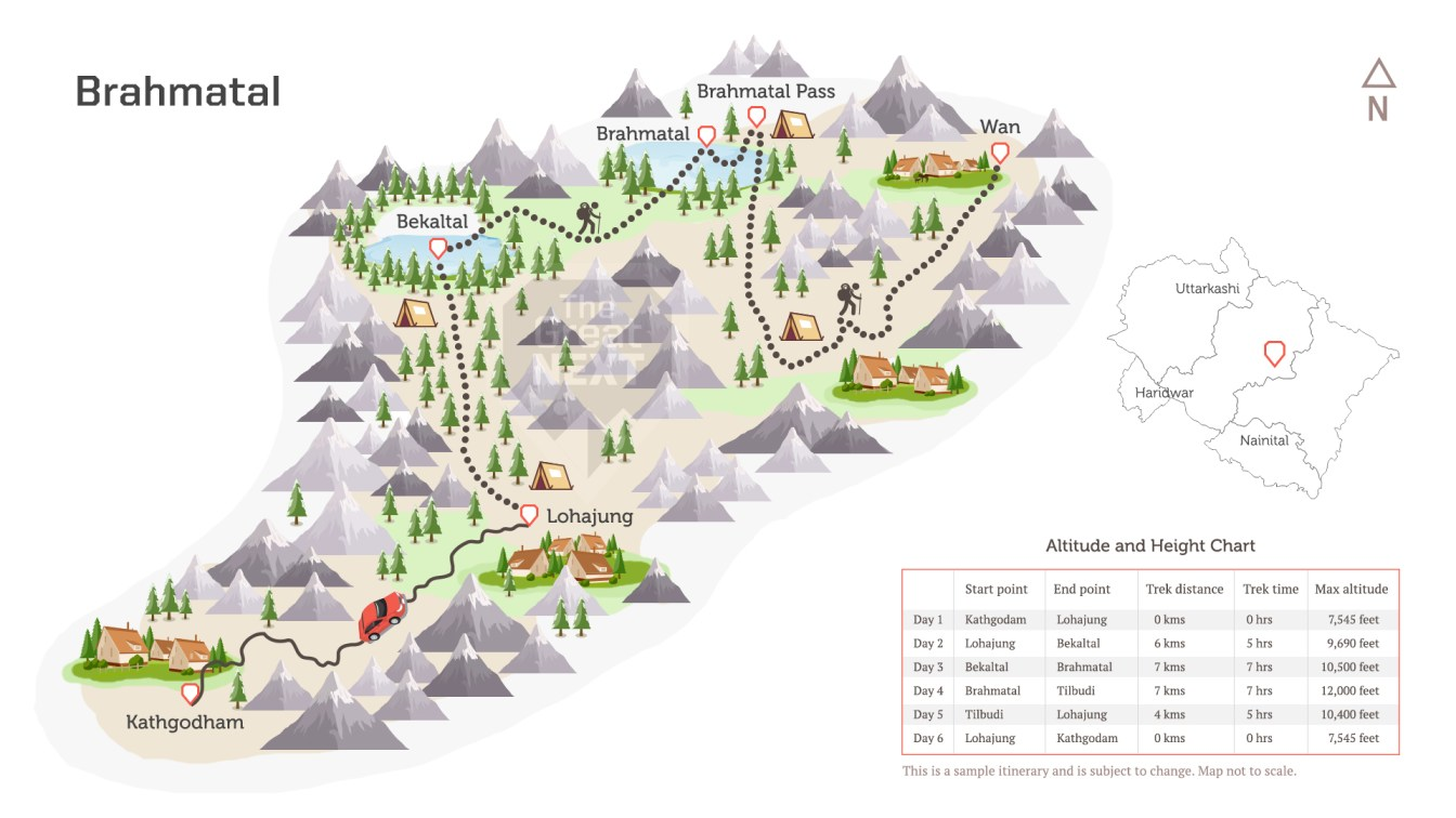 See the trekking route map for the Brahmatal trek
