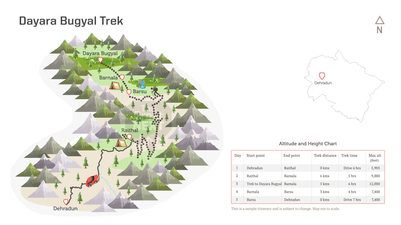 See the trekking route map for the Dayara Bugyal trek.