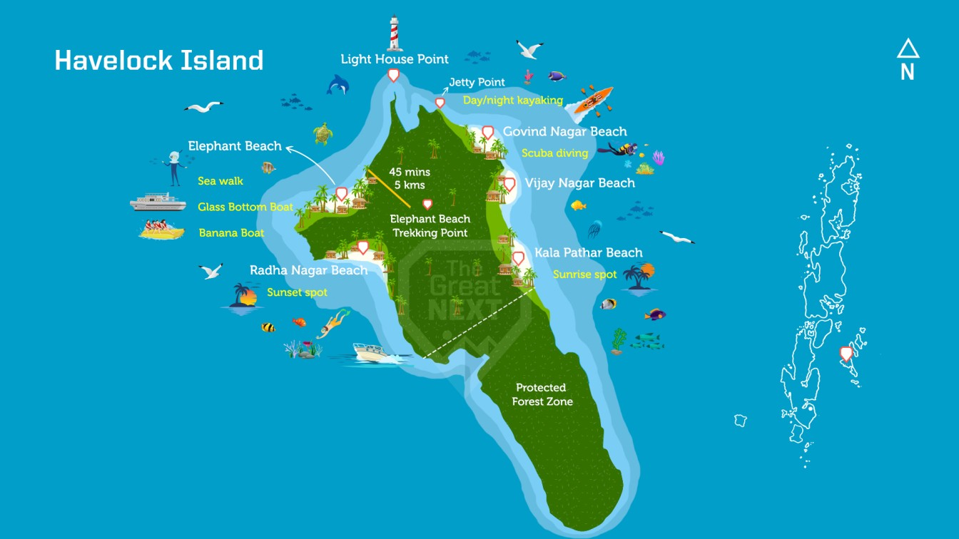 Map of Havelock Island with adventure activities marked on it