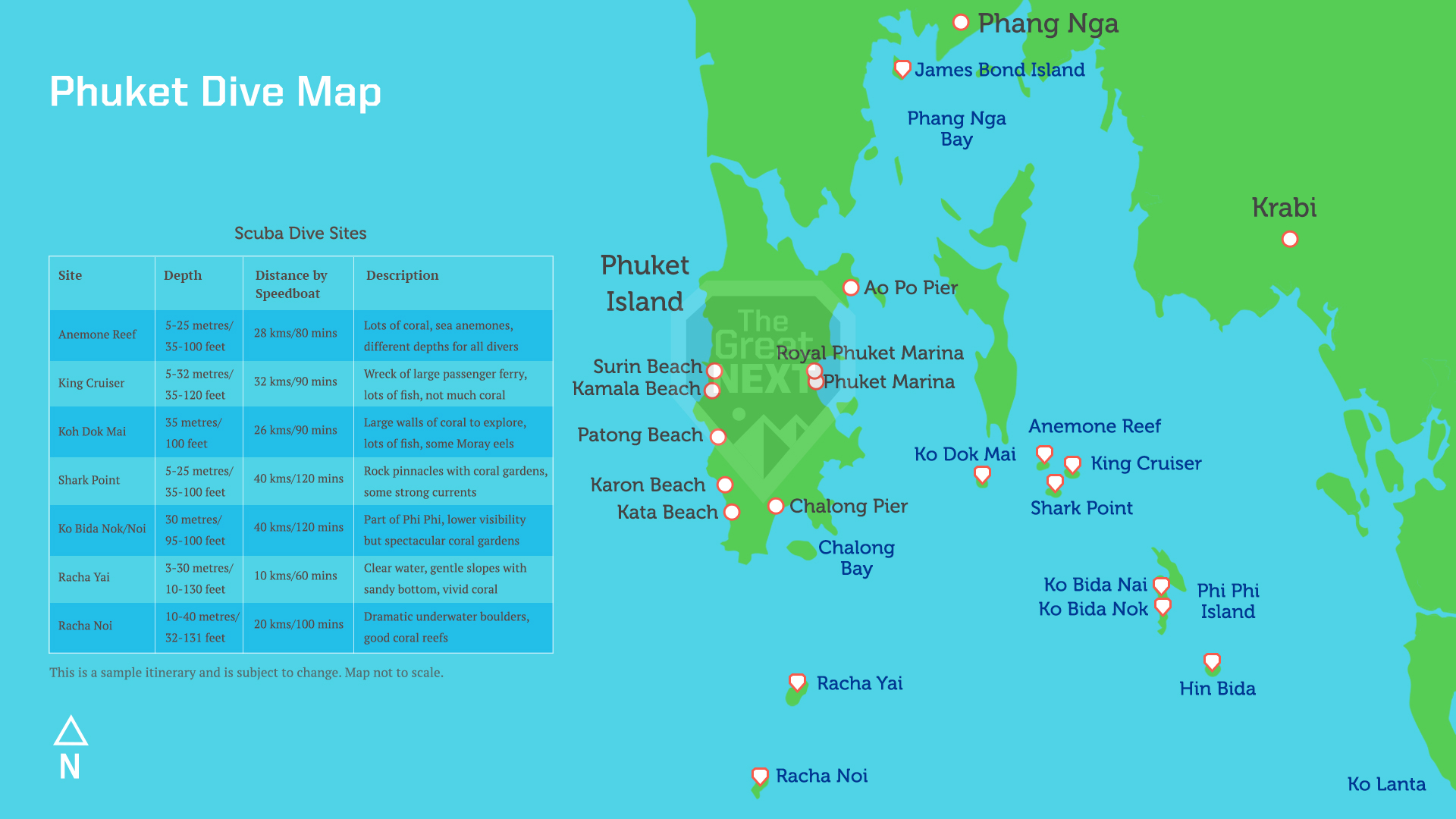 Map of scuba diving spots in Phuket