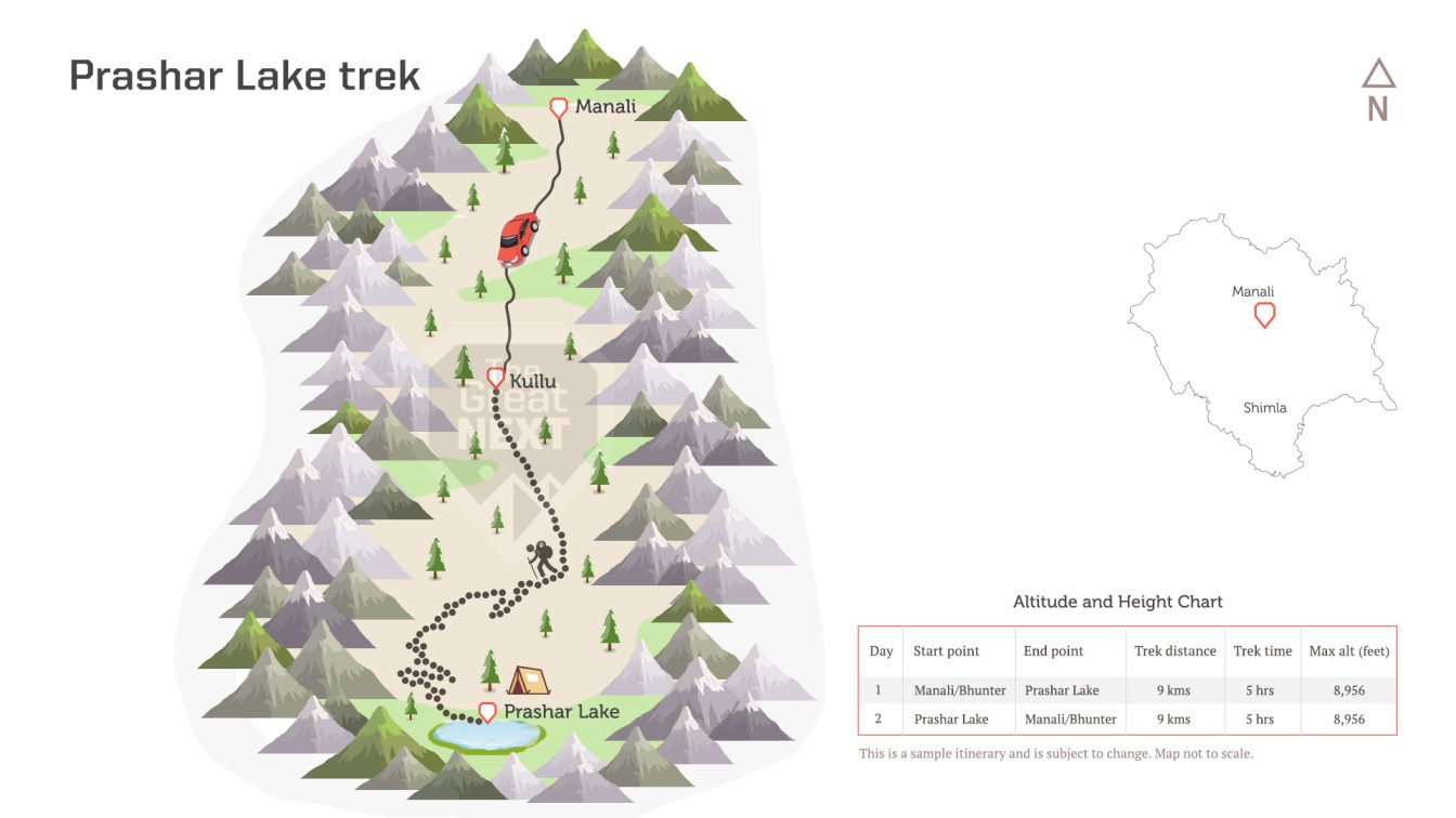 See the trekking route map for the Prashar Lake trek.