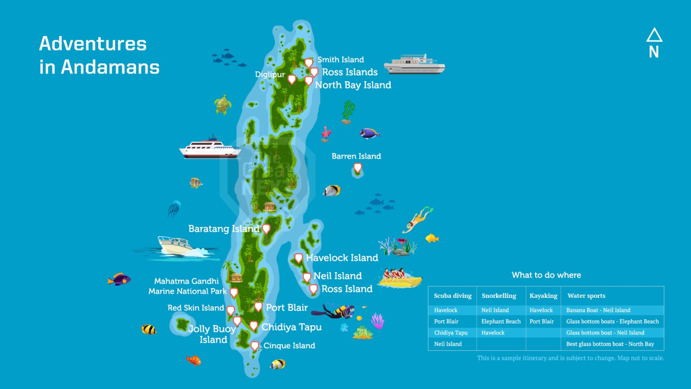 Map of Andaman Islands with all adventures marked on it