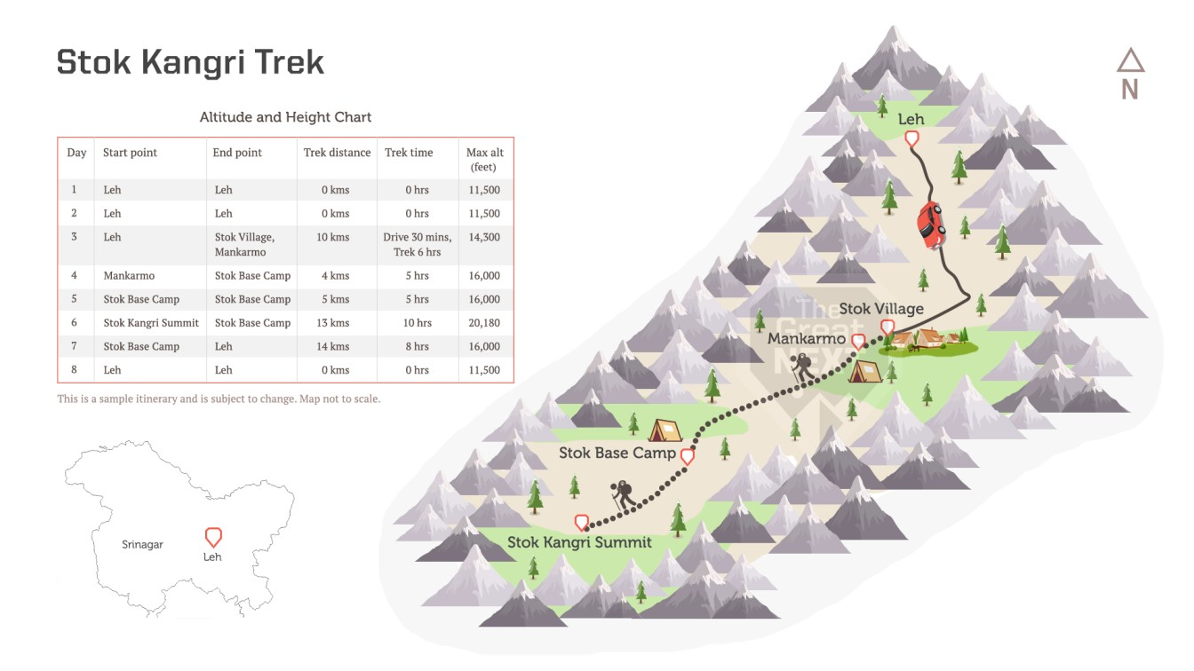 See the trekking route map for the Stok Kangri trek.