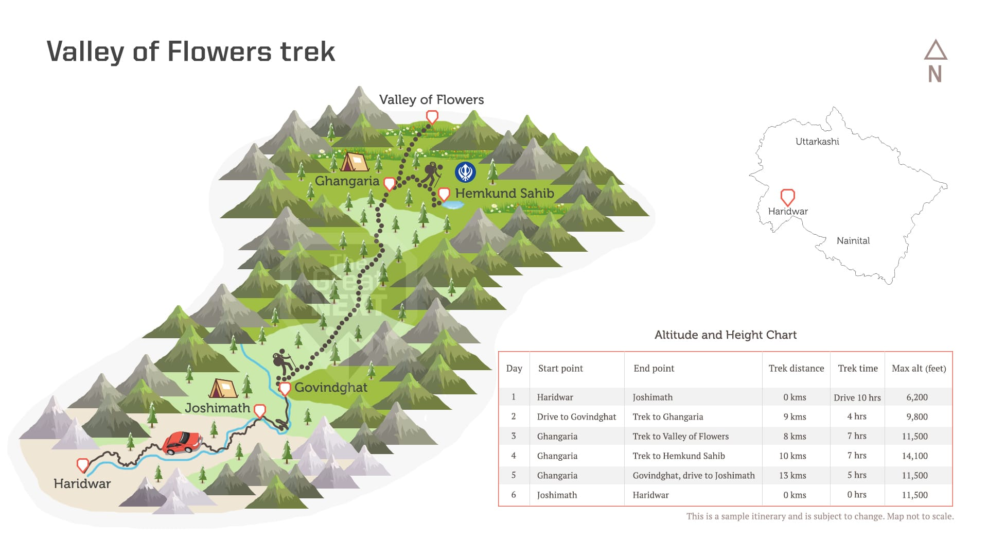 See the trekking route map for the the Valley of Flowers trek in Uttarakhand.