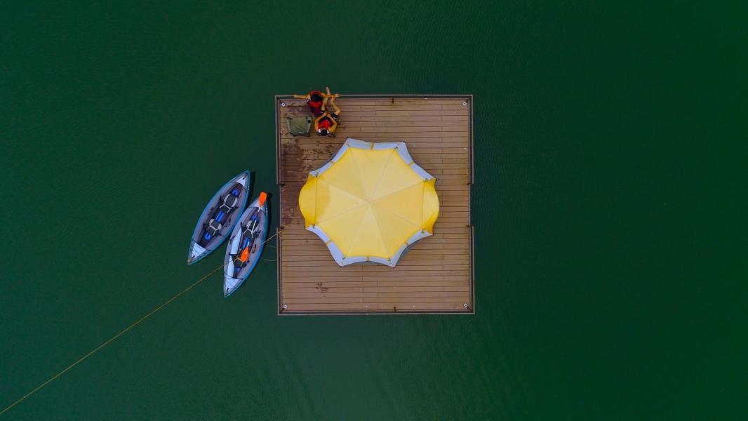 Floating tent camping at Kalote Lake