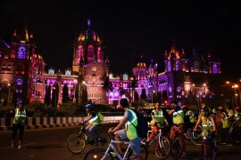 Midnight Coastal Cycling in Mumbai