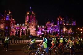 Midnight Coastal Cycling in Mumbai