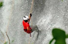 Bekare waterfall rappelling and ziplining at Bhivpuri