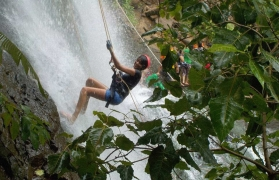 Waterfall rappelling at Dodhani Waterfalls