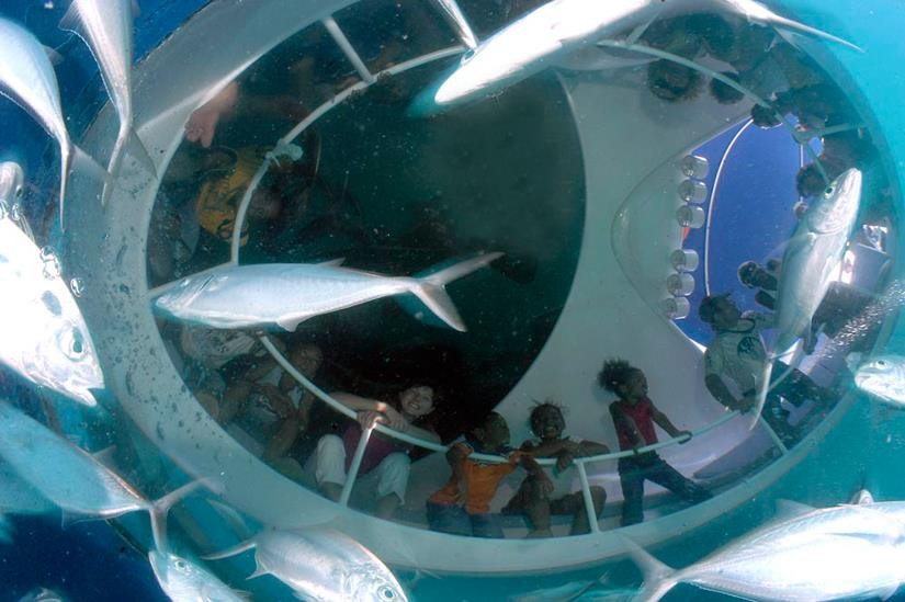 Glass bottom boat Andamans Port Blair Scuba Diving The Great Next