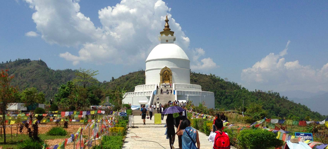 World Peace Pagoda Shanti Stupa Mountain Cycling Biking Pokhara Nepal Adventure Activity Destination Places Himalayas Travel